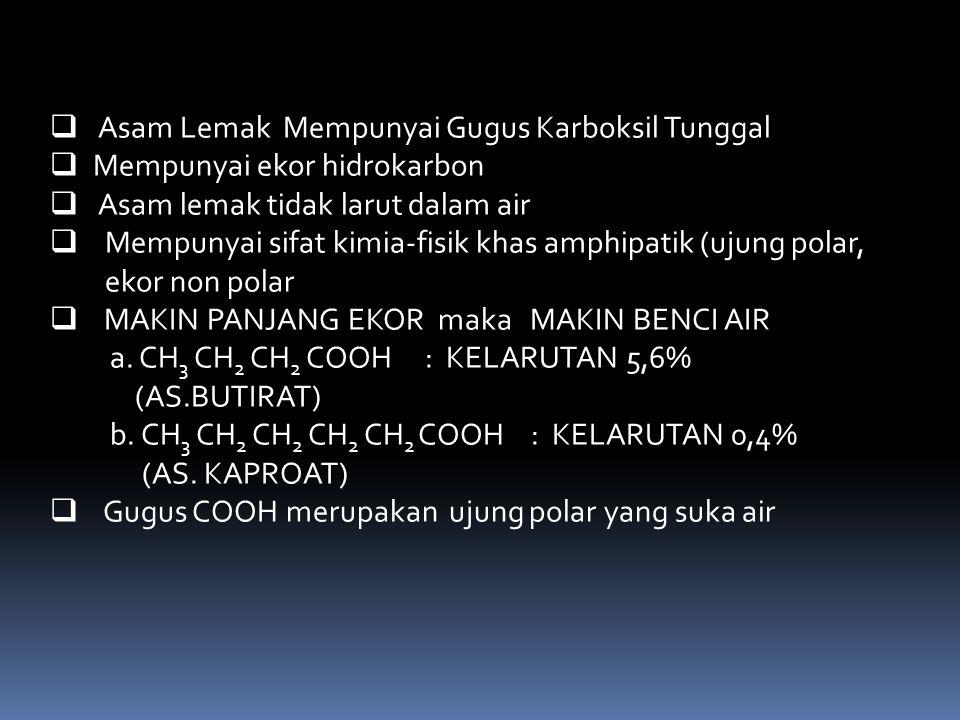  Asam Lemak Mempunyai Gugus Karboksil Tunggal  Mempunyai ekor hidrokarbon  Asam lemak tidak larut dalam air  Mempunyai sifat kimia-fisik khas amph