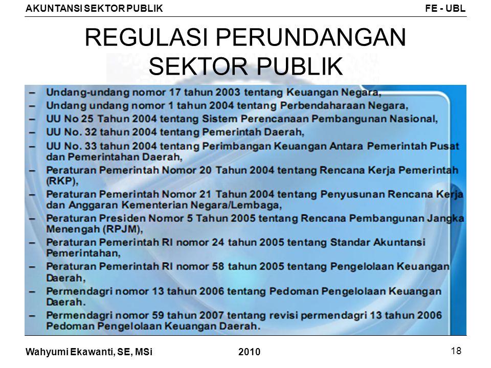 Wahyumi Ekawanti, SE, MSi AKUNTANSI SEKTOR PUBLIKFE - UBL 2010 18 REGULASI PERUNDANGAN SEKTOR PUBLIK