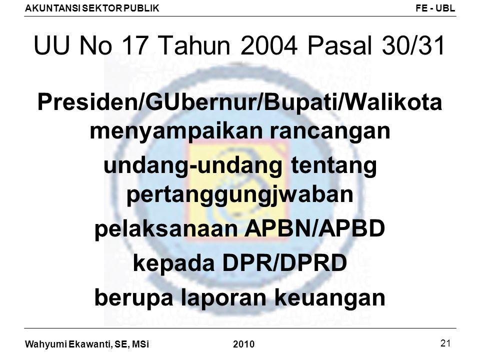 Wahyumi Ekawanti, SE, MSi AKUNTANSI SEKTOR PUBLIKFE - UBL 2010 21 UU No 17 Tahun 2004 Pasal 30/31 Presiden/GUbernur/Bupati/Walikota menyampaikan ranca