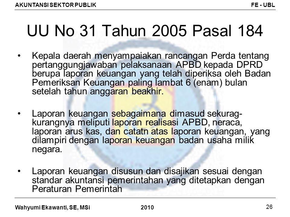 Wahyumi Ekawanti, SE, MSi AKUNTANSI SEKTOR PUBLIKFE - UBL 2010 26 UU No 31 Tahun 2005 Pasal 184 Kepala daerah menyampaiakan rancangan Perda tentang pe