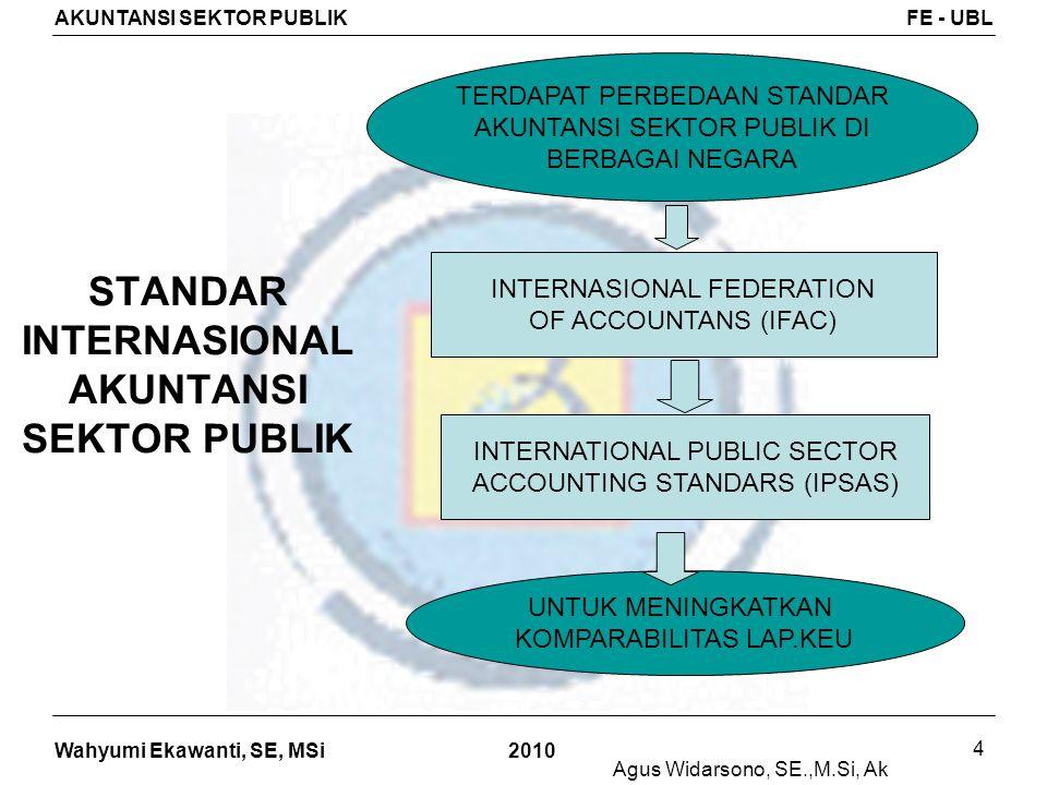 Wahyumi Ekawanti, SE, MSi AKUNTANSI SEKTOR PUBLIKFE - UBL 2010 4 STANDAR INTERNASIONAL AKUNTANSI SEKTOR PUBLIK TERDAPAT PERBEDAAN STANDAR AKUNTANSI SE