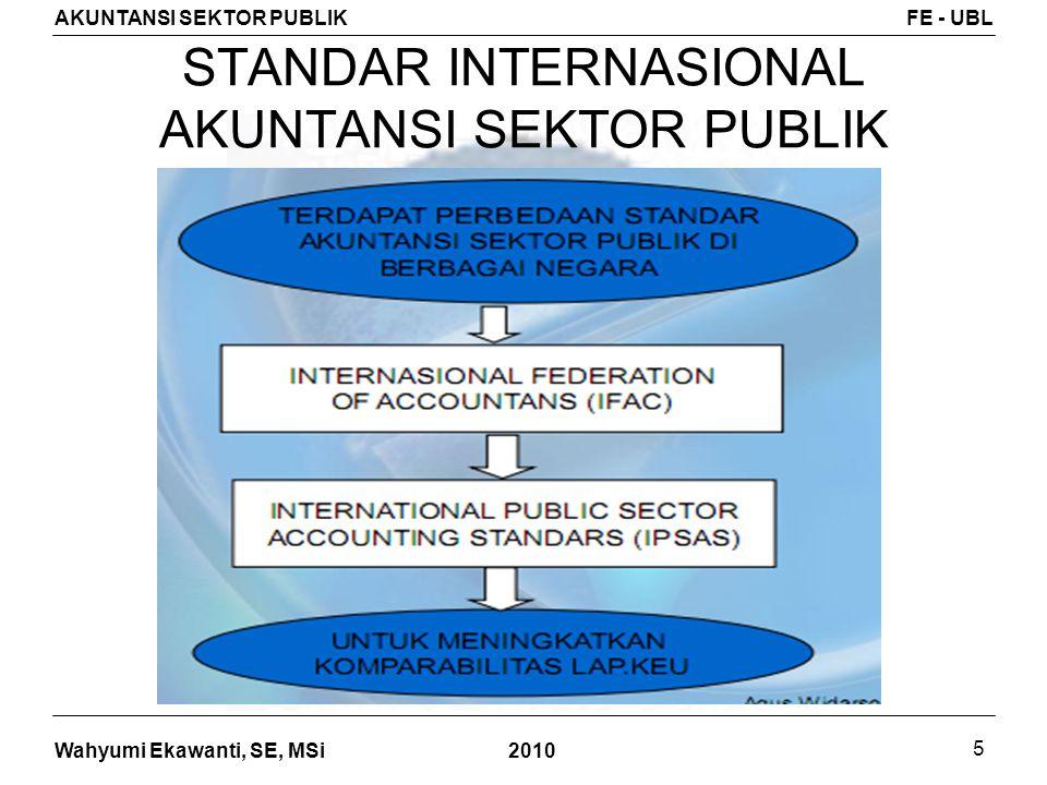 Wahyumi Ekawanti, SE, MSi AKUNTANSI SEKTOR PUBLIKFE - UBL 2010 5 STANDAR INTERNASIONAL AKUNTANSI SEKTOR PUBLIK