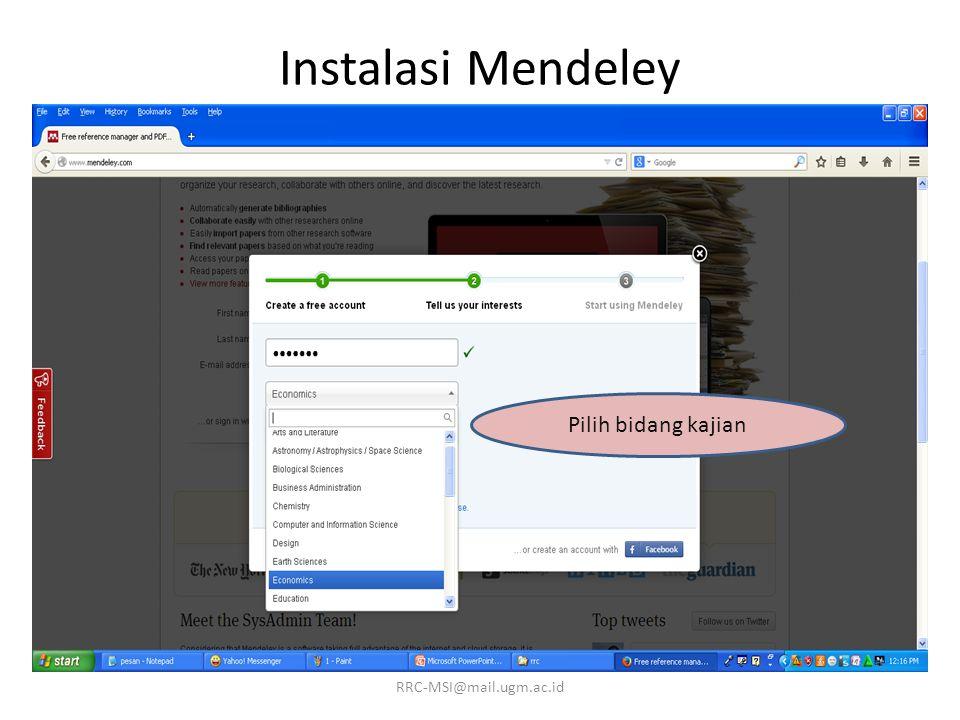 Instalasi Mendeley Pilih status akademik RRC-MSI@mail.ugm.ac.id