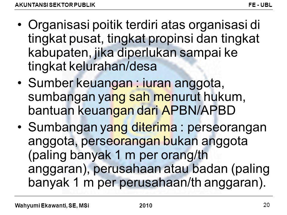 Wahyumi Ekawanti, SE, MSi AKUNTANSI SEKTOR PUBLIKFE - UBL 2010 20 Organisasi poitik terdiri atas organisasi di tingkat pusat, tingkat propinsi dan tin