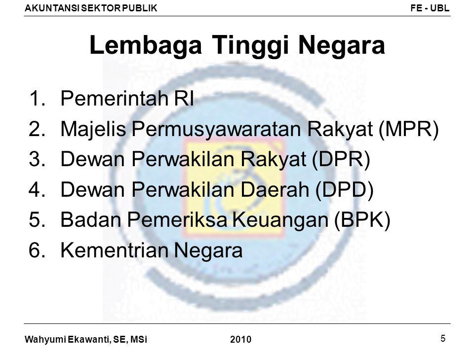Wahyumi Ekawanti, SE, MSi AKUNTANSI SEKTOR PUBLIKFE - UBL 2010 16 RS Berdasarkan Kepemilikan 1.Rumah sakit milik pemerintah a.Milik pemerintah yang tidak dipisahkan (RS Banyumas, RS Tangerang, dll) b.Milik pemerintah yg dipisahkan (RS Pertamina, RS Pelni, dll) 2.Rumah sakit berbentuk BLU RSCM, RS Jantung Harapan Kita, RS Hasan Sadikin, RS Dr.