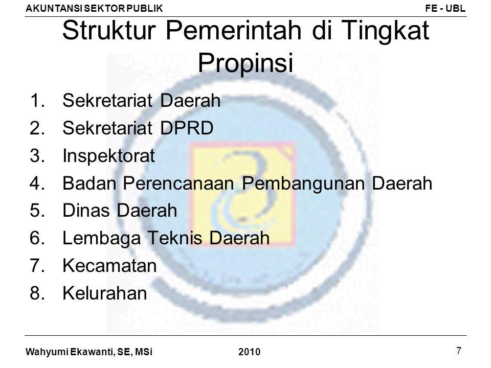 Wahyumi Ekawanti, SE, MSi AKUNTANSI SEKTOR PUBLIKFE - UBL 2010 7 Struktur Pemerintah di Tingkat Propinsi 1.Sekretariat Daerah 2.Sekretariat DPRD 3.Ins
