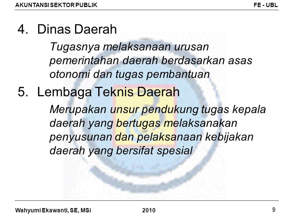 Wahyumi Ekawanti, SE, MSi AKUNTANSI SEKTOR PUBLIKFE - UBL 2010 9 4.Dinas Daerah Tugasnya melaksanaan urusan pemerintahan daerah berdasarkan asas otono