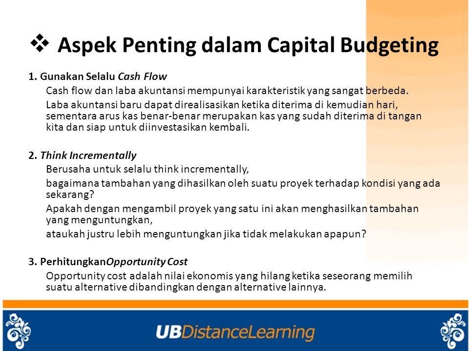  Aspek Penting dalam Capital Budgeting 1.