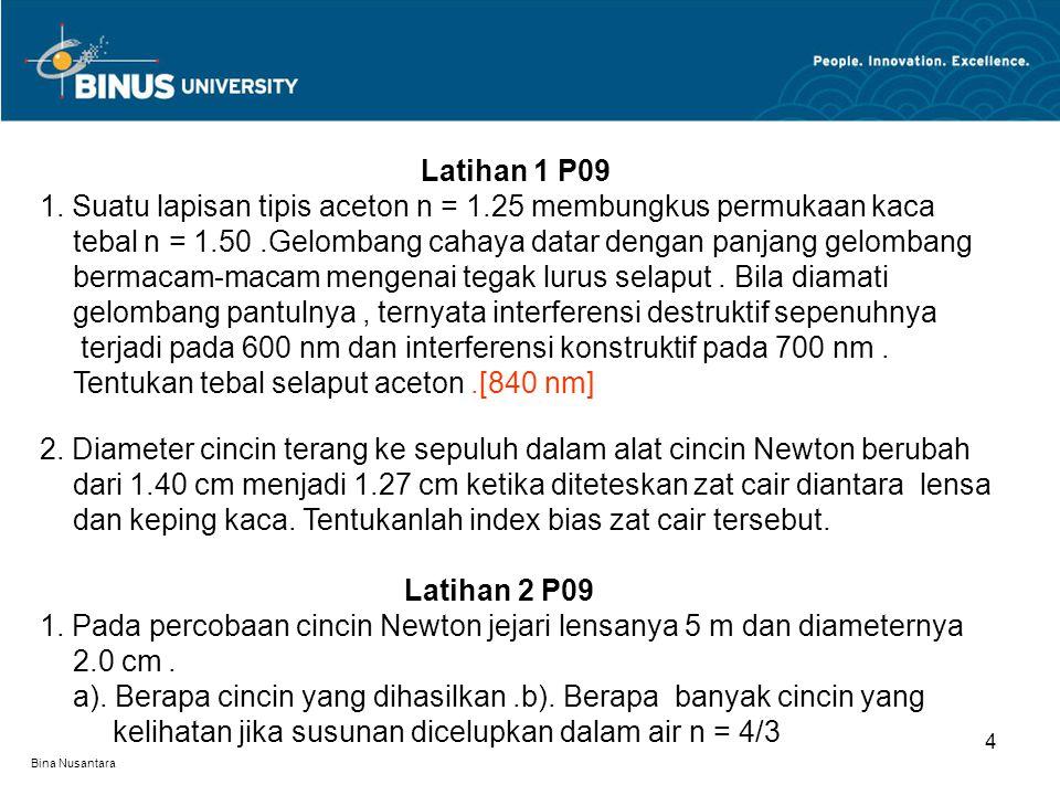 Bina Nusantara 5 2.Tentukanlah ketebalan minimum lapisan tipis (n = 1.38) pada kaca agar : a).