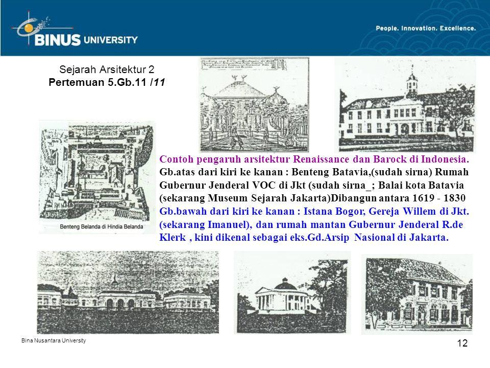 Bina Nusantara University 12 Sejarah Arsitektur 2 Pertemuan 5.Gb.11 /11 Contoh pengaruh arsitektur Renaissance dan Barock di Indonesia. Gb.atas dari k