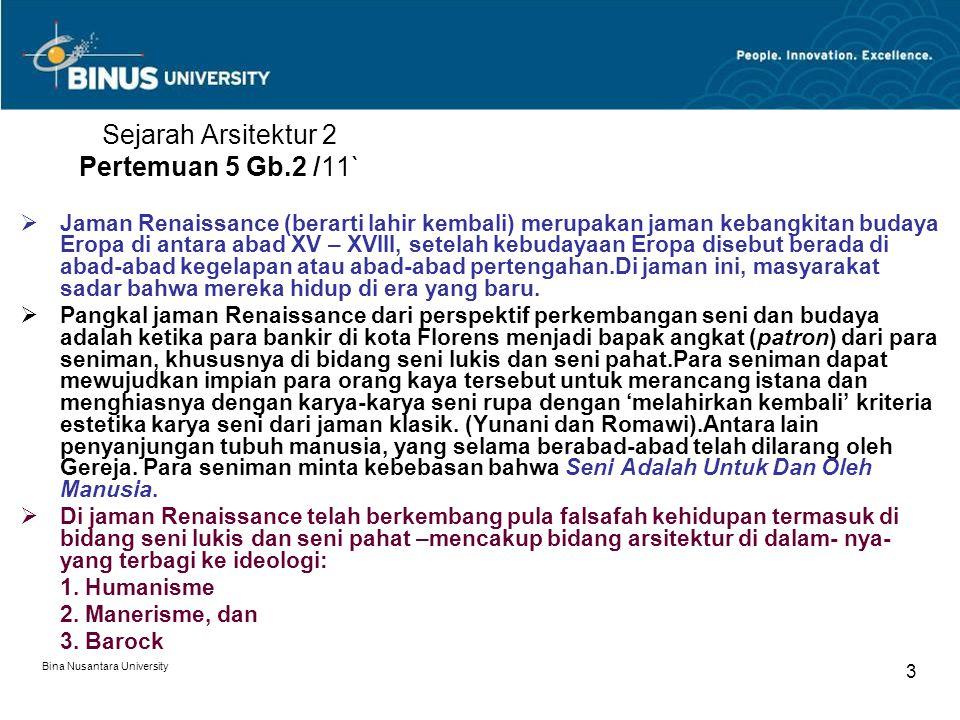 Bina Nusantara University 3 Sejarah Arsitektur 2 Pertemuan 5 Gb.2 /11`  Jaman Renaissance (berarti lahir kembali) merupakan jaman kebangkitan budaya