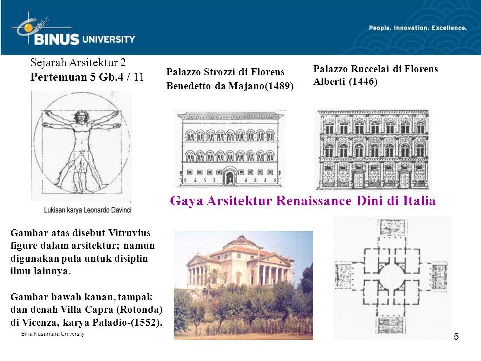 Bina Nusantara University 5 Sejarah Arsitektur 2 Pertemuan 5 Gb.4 / 11 Gambar atas disebut Vitruvius figure dalam arsitektur; namun digunakan pula untuk disiplin ilmu lainnya.