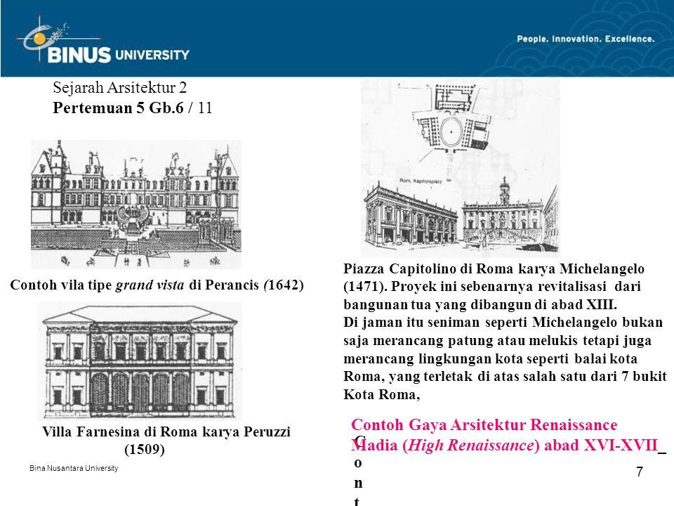 Bina Nusantara University 7 Sejarah Arsitektur 2 Pertemuan 5 Gb.6 / 11 Villa Farnesina di Roma karya Peruzzi (1509) Contoh vila tipe grand vista di Pe