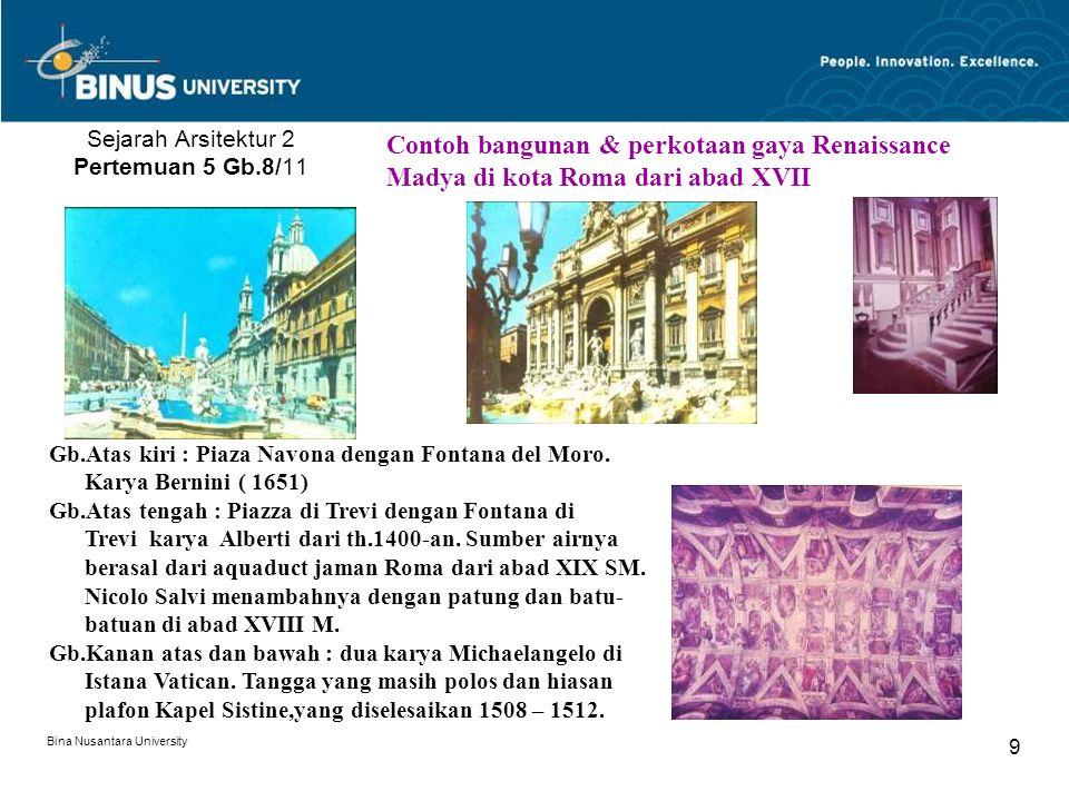Bina Nusantara University 9 Sejarah Arsitektur 2 Pertemuan 5 Gb.8/11 Contoh bangunan & perkotaan gaya Renaissance Madya di kota Roma dari abad XVII Gb