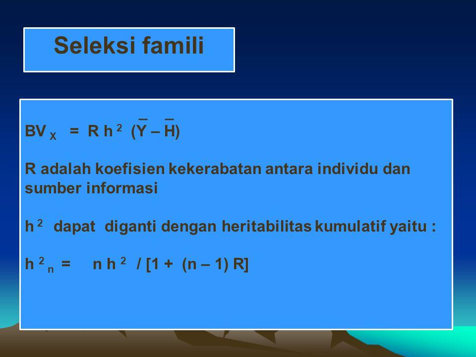 Seleksi famili _ _ BV X = R h 2 (Y – H) R adalah koefisien kekerabatan antara individu dan sumber informasi h 2 dapat diganti dengan heritabilitas kumulatif yaitu : h 2 n = n h 2 / [1 + (n – 1) R]