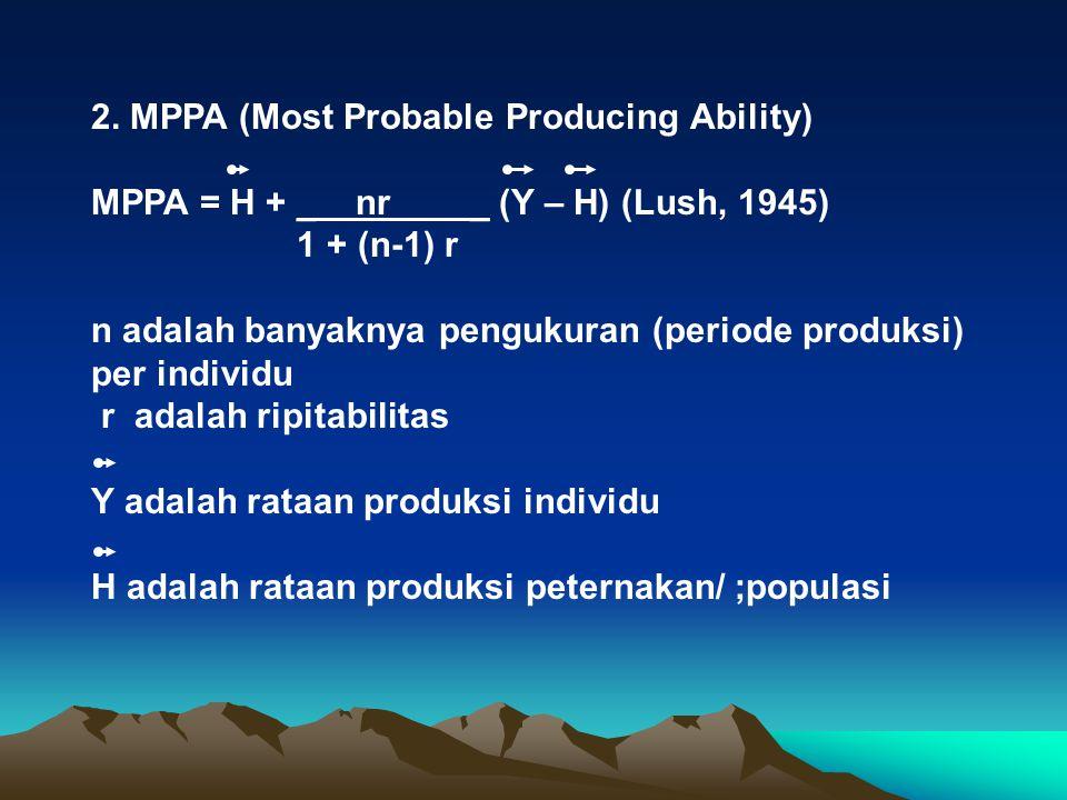 2. MPPA (Most Probable Producing Ability) MPPA = H + _ nr _ (Y – H) (Lush, 1945) 1 + (n-1) r n adalah banyaknya pengukuran (periode produksi) per indi