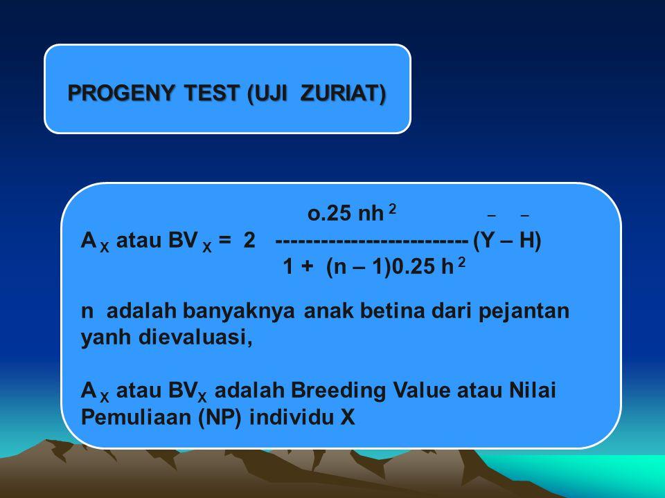 PROGENY TEST (UJI ZURIAT) o.25 nh 2 _ _ A X atau BV X = 2 -------------------------- (Y – H) 1 + (n – 1)0.25 h 2 n adalah banyaknya anak betina dari pejantan yanh dievaluasi, A X atau BV X adalah Breeding Value atau Nilai Pemuliaan (NP) individu X