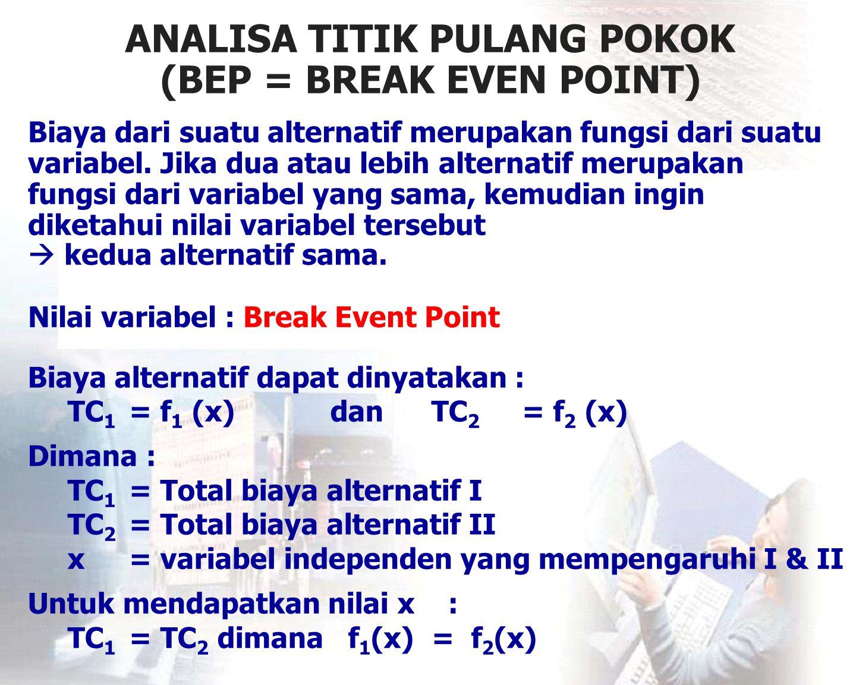 ANALISA TITIK PULANG POKOK (BEP = BREAK EVEN POINT) Biaya dari suatu alternatif merupakan fungsi dari suatu variabel. Jika dua atau lebih alternatif m