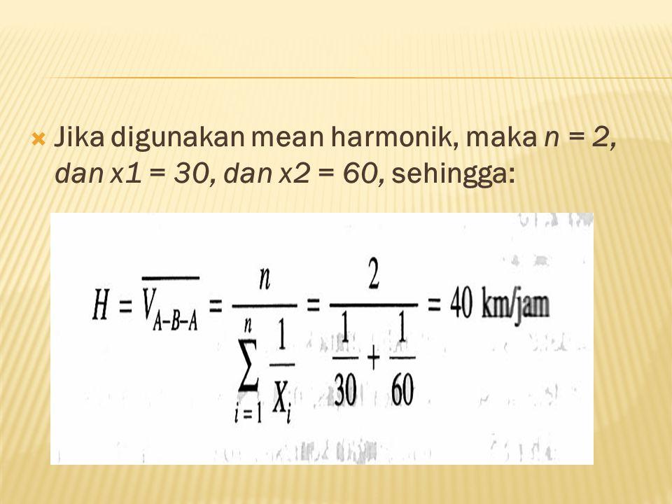  Jika digunakan mean harmonik, maka n = 2, dan x1 = 30, dan x2 = 60, sehingga: