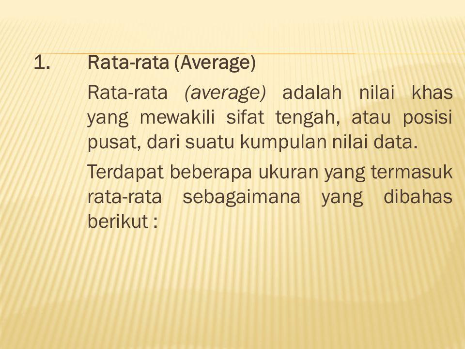 1. Rata-rata (Average) Rata-rata (average) adalah nilai khas yang mewakili sifat tengah, atau posisi pusat, dari suatu kumpulan nilai data. Terdapat b