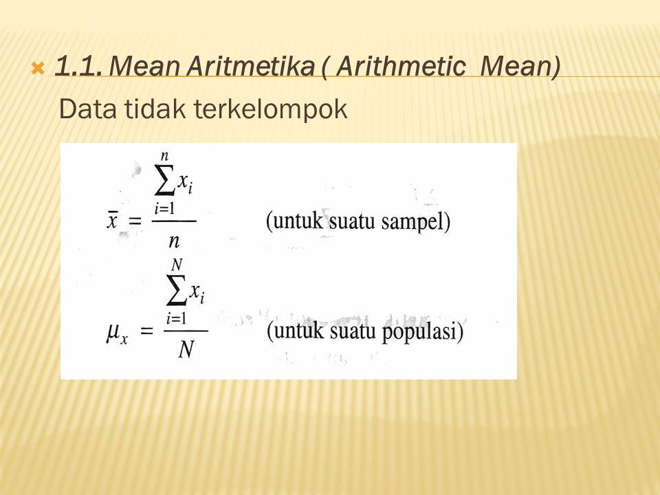 1.1. Mean Aritmetika ( Arithmetic Mean) Data tidak terkelompok
