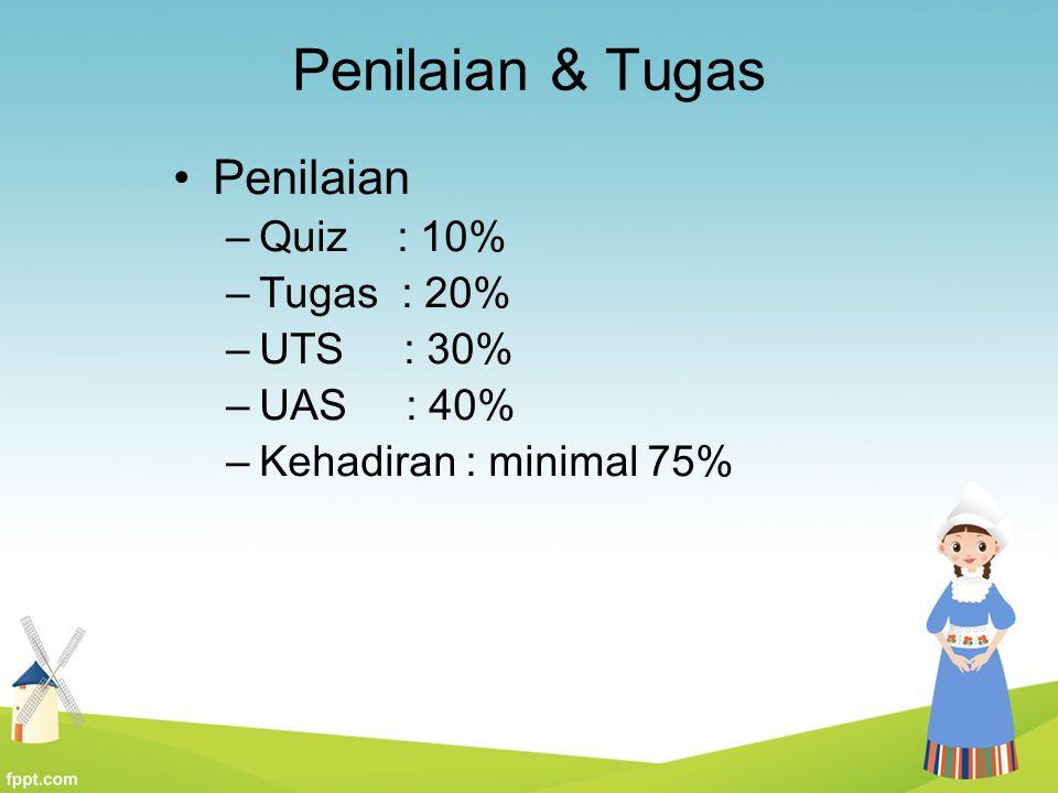 Penilaian & Tugas Penilaian –Quiz : 10% –Tugas : 20% –UTS : 30% –UAS : 40% –Kehadiran : minimal 75%
