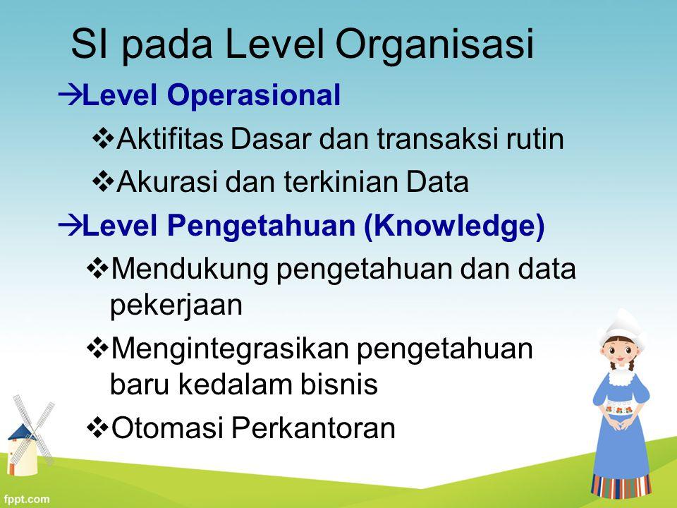 SI pada Level Organisasi  Level Operasional  Aktifitas Dasar dan transaksi rutin  Akurasi dan terkinian Data  Level Pengetahuan (Knowledge)  Mend