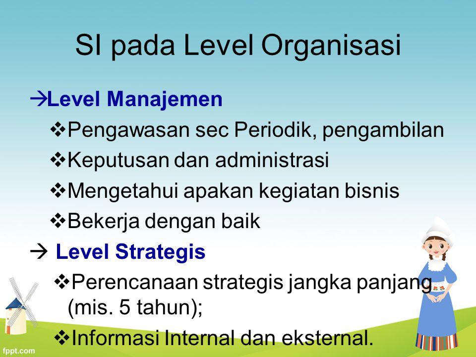 SI pada Level Organisasi  Level Manajemen  Pengawasan sec Periodik, pengambilan  Keputusan dan administrasi  Mengetahui apakan kegiatan bisnis  B