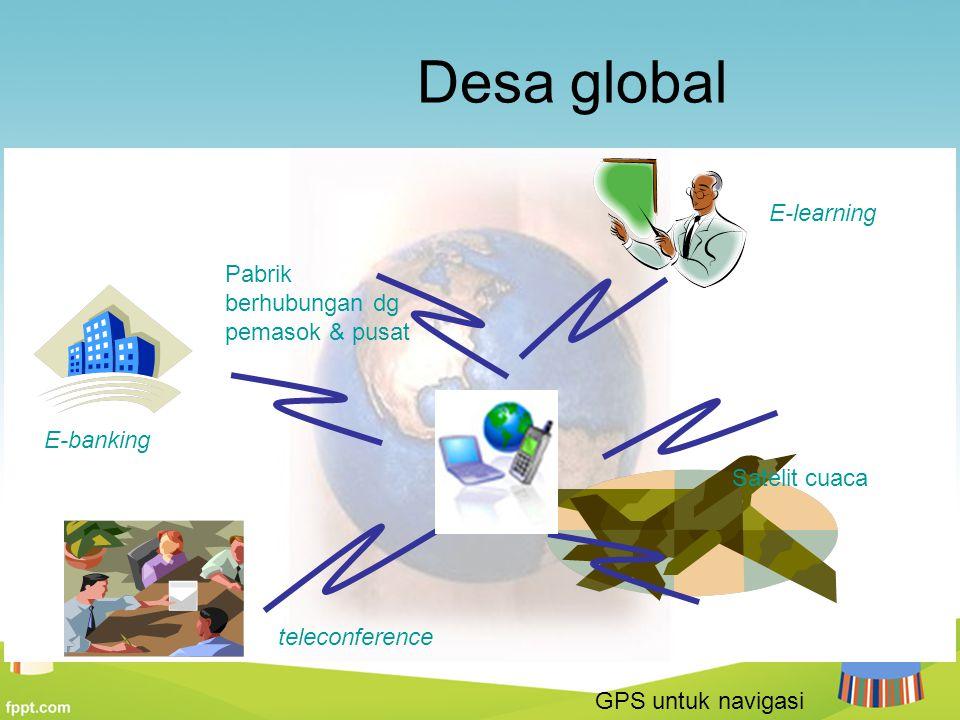 Desa global teleconference E-banking Pabrik berhubungan dg pemasok & pusat E-learning Satelit cuaca GPS untuk navigasi
