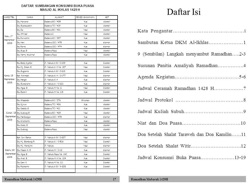 Ramadhan Mubarak 1429H 17 Daftar Isi Kata Pengantar……………………………………i Sambutan Ketua DKM Al-Ikhlas…………………1 9 (Sembilan) Langkah menyambut Ramadhan…..2-3