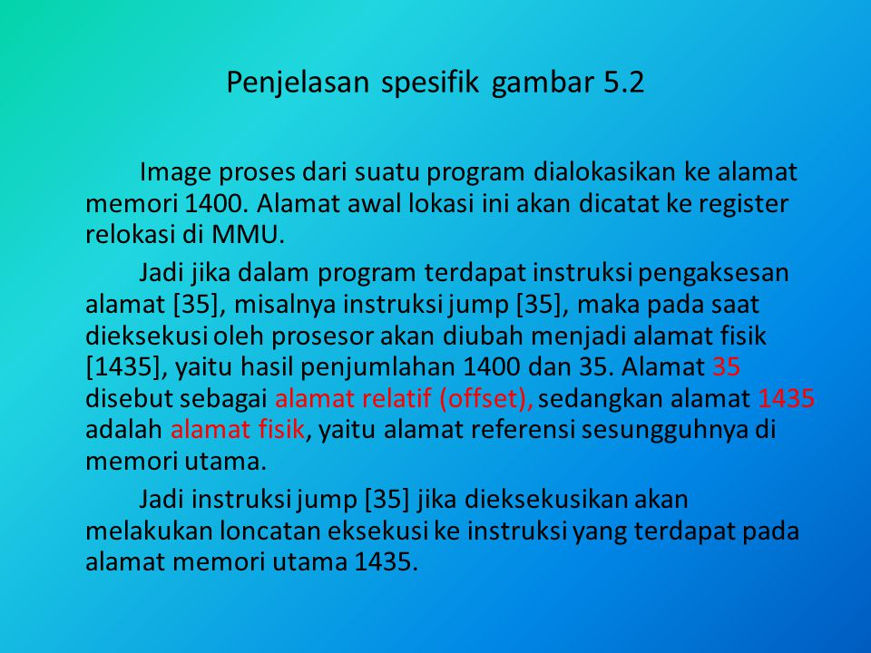 Penjelasan spesifik gambar 5.2 Image proses dari suatu program dialokasikan ke alamat memori 1400. Alamat awal lokasi ini akan dicatat ke register rel
