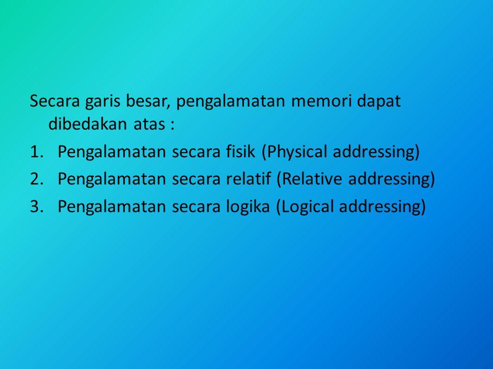 Secara garis besar, pengalamatan memori dapat dibedakan atas : 1.Pengalamatan secara fisik (Physical addressing) 2.Pengalamatan secara relatif (Relati