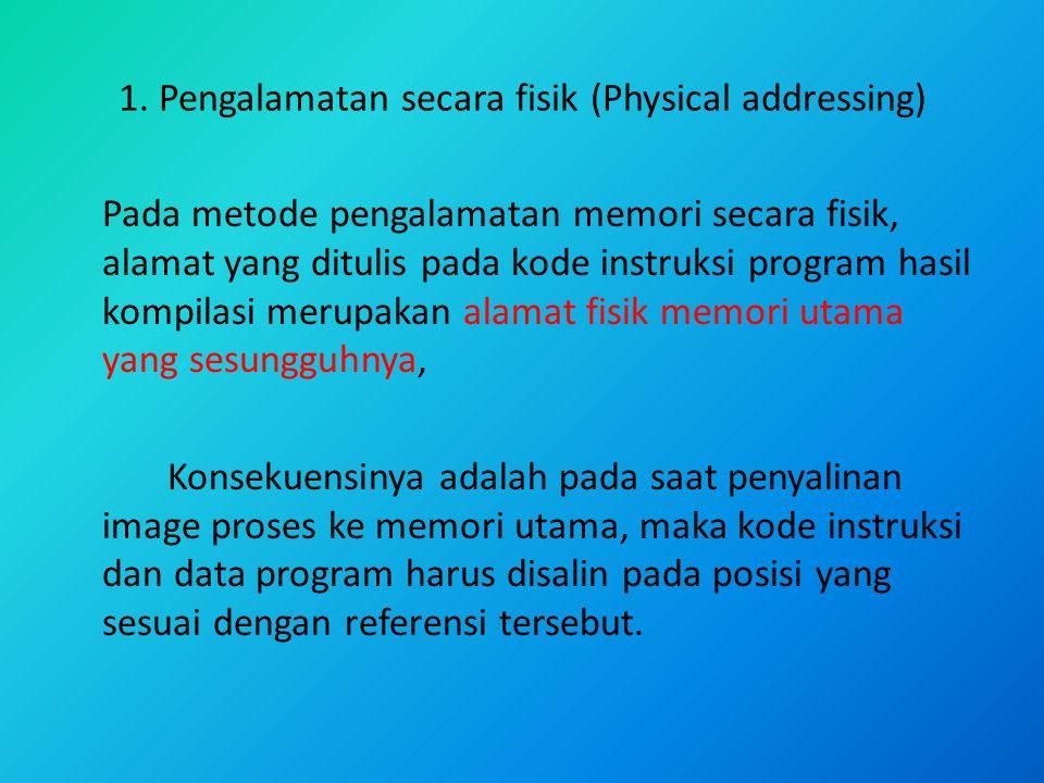 1. Pengalamatan secara fisik (Physical addressing) Pada metode pengalamatan memori secara fisik, alamat yang ditulis pada kode instruksi program hasil