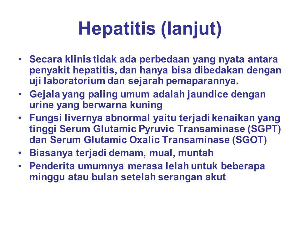 Hepatitis (lanjut) Penularan Hepatitis A umumnya melalui saluran pencernaan, melalui kontak pribadi atau penyebaran dari feses yang mengandung Hepatitis A, secara klinik lebih ringan drpd hepatitis B, angka kematian 0,1 -0,2 % Masa inkubasi Hepatitis A 15-45 hari, Hepatitis B 50 – 180 hari Virus hepatitis B berada dalam darah bisa bertahun- tahun, persistent infection atau menetap, angka kematian bervariasi tapi bisa tinggi Penularan Hepatitis B umumnya melalui kontak pribadi, kebebasan sex, tranfusi darah, penggunaan jarum suntik bersama, penularan dari ibu ke anak