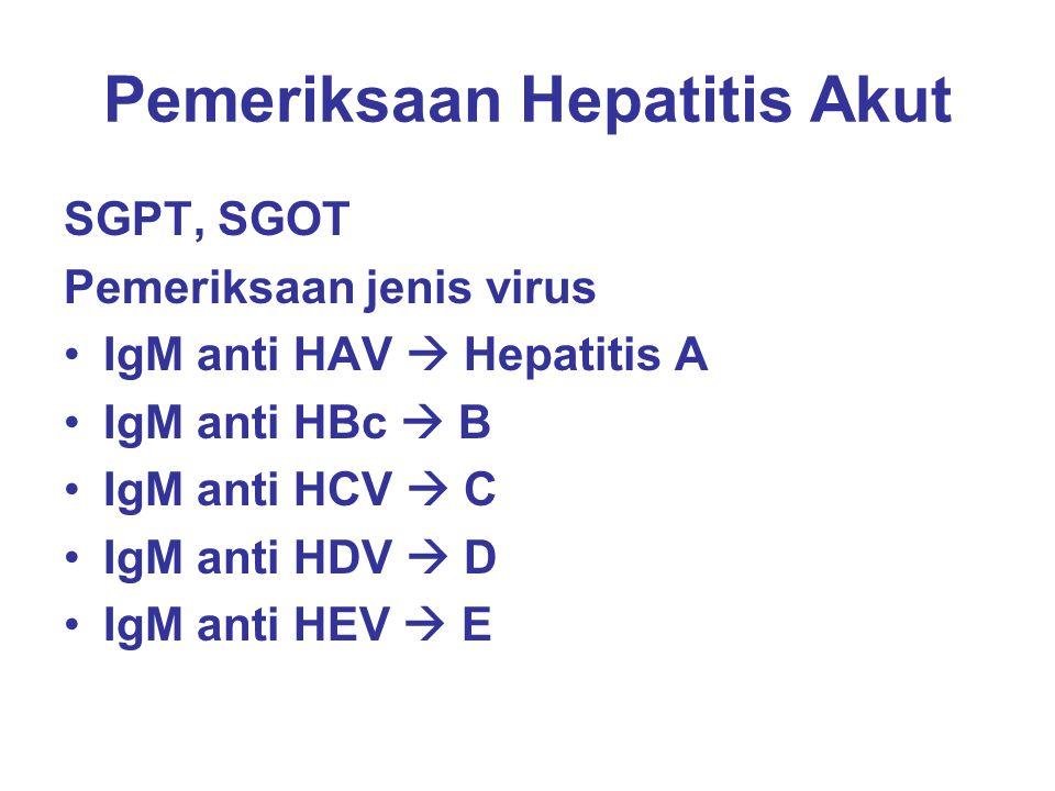 Pemeriksaan Hepatitis Akut SGPT, SGOT Pemeriksaan jenis virus IgM anti HAV  Hepatitis A IgM anti HBc  B IgM anti HCV  C IgM anti HDV  D IgM anti H