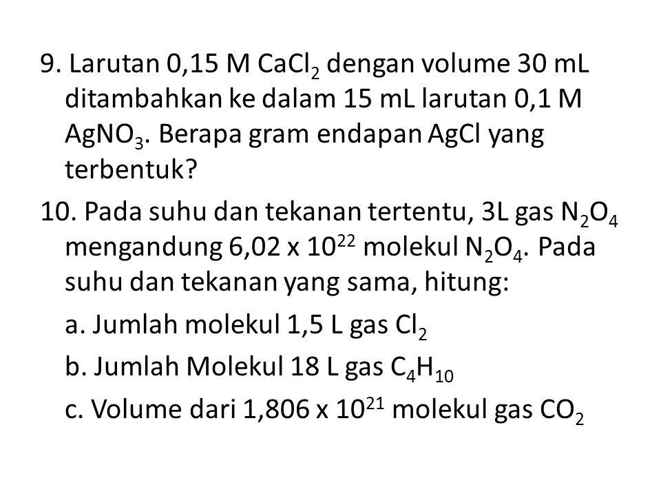 9.Larutan 0,15 M CaCl 2 dengan volume 30 mL ditambahkan ke dalam 15 mL larutan 0,1 M AgNO 3.