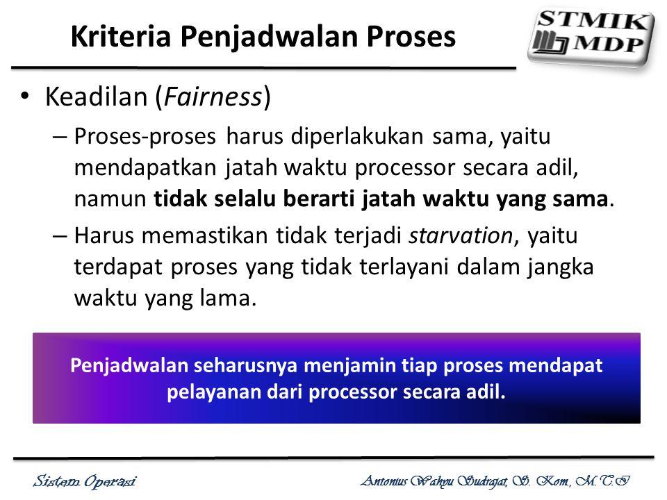 Sistem Operasi Antonius Wahyu Sudrajat, S. Kom., M.T.I Keadilan (Fairness) – Proses-proses harus diperlakukan sama, yaitu mendapatkan jatah waktu proc