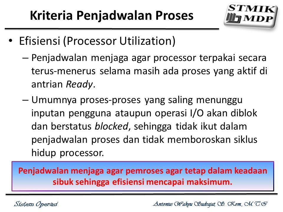 Sistem Operasi Antonius Wahyu Sudrajat, S. Kom., M.T.I Efisiensi (Processor Utilization) – Penjadwalan menjaga agar processor terpakai secara terus-me
