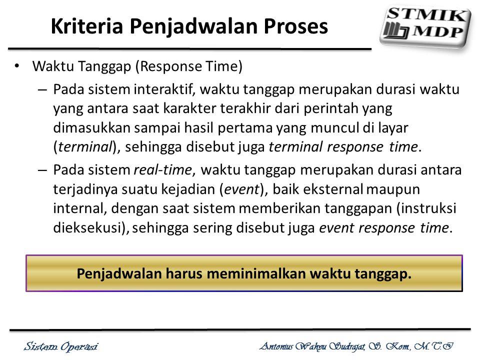 Sistem Operasi Antonius Wahyu Sudrajat, S. Kom., M.T.I Waktu Tanggap (Response Time) – Pada sistem interaktif, waktu tanggap merupakan durasi waktu ya
