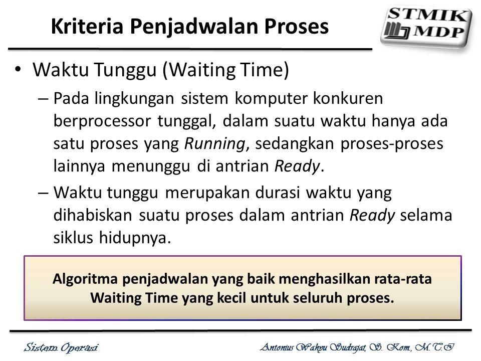 Sistem Operasi Antonius Wahyu Sudrajat, S. Kom., M.T.I Waktu Tunggu (Waiting Time) – Pada lingkungan sistem komputer konkuren berprocessor tunggal, da