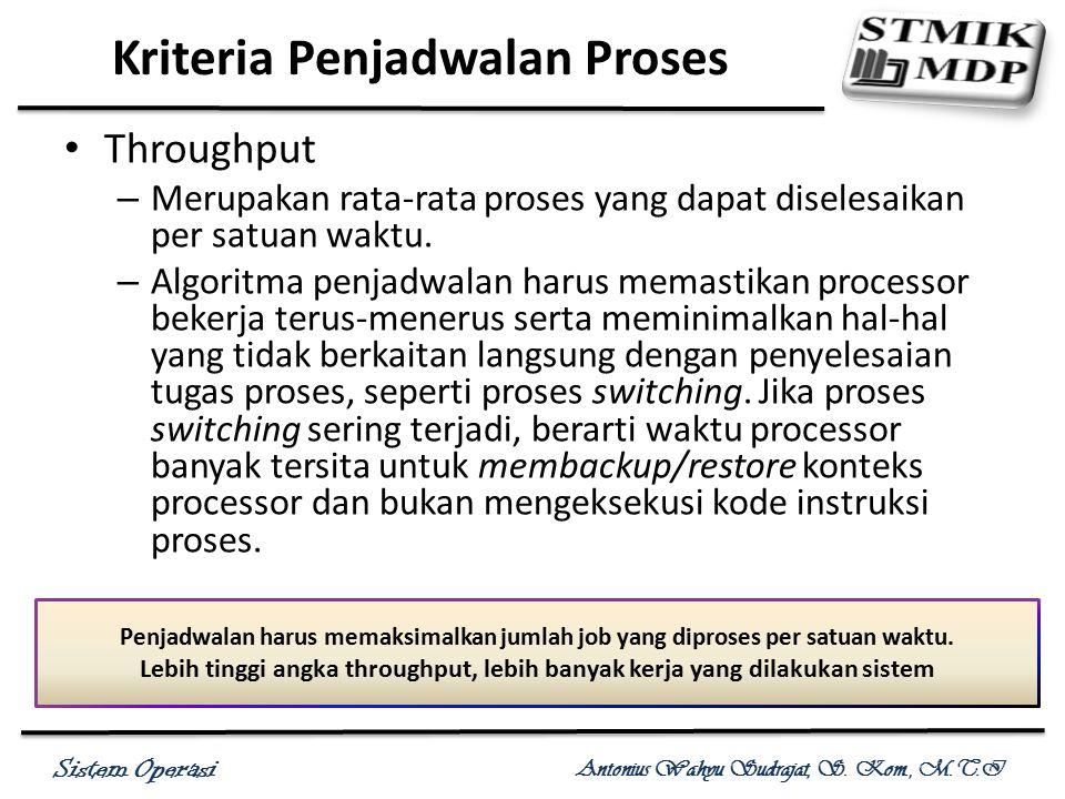 Sistem Operasi Antonius Wahyu Sudrajat, S. Kom., M.T.I Throughput – Merupakan rata-rata proses yang dapat diselesaikan per satuan waktu. – Algoritma p