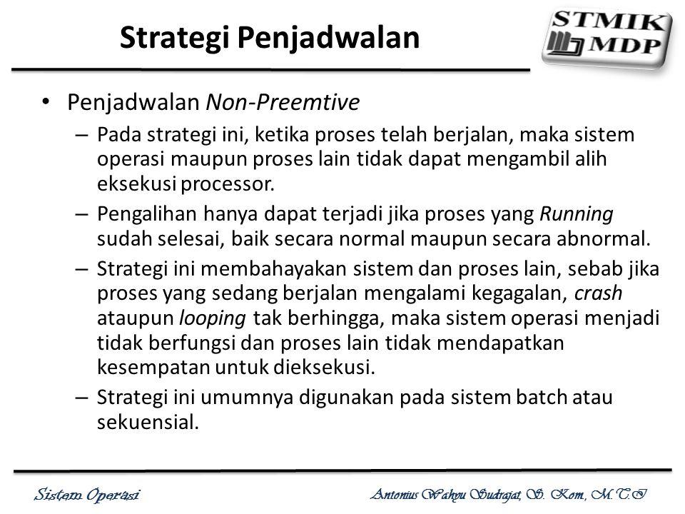 Sistem Operasi Antonius Wahyu Sudrajat, S. Kom., M.T.I Penjadwalan Non-Preemtive – Pada strategi ini, ketika proses telah berjalan, maka sistem operas