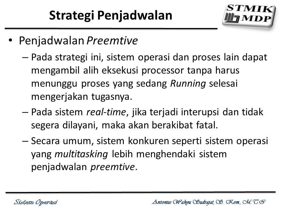 Sistem Operasi Antonius Wahyu Sudrajat, S. Kom., M.T.I Penjadwalan Preemtive – Pada strategi ini, sistem operasi dan proses lain dapat mengambil alih