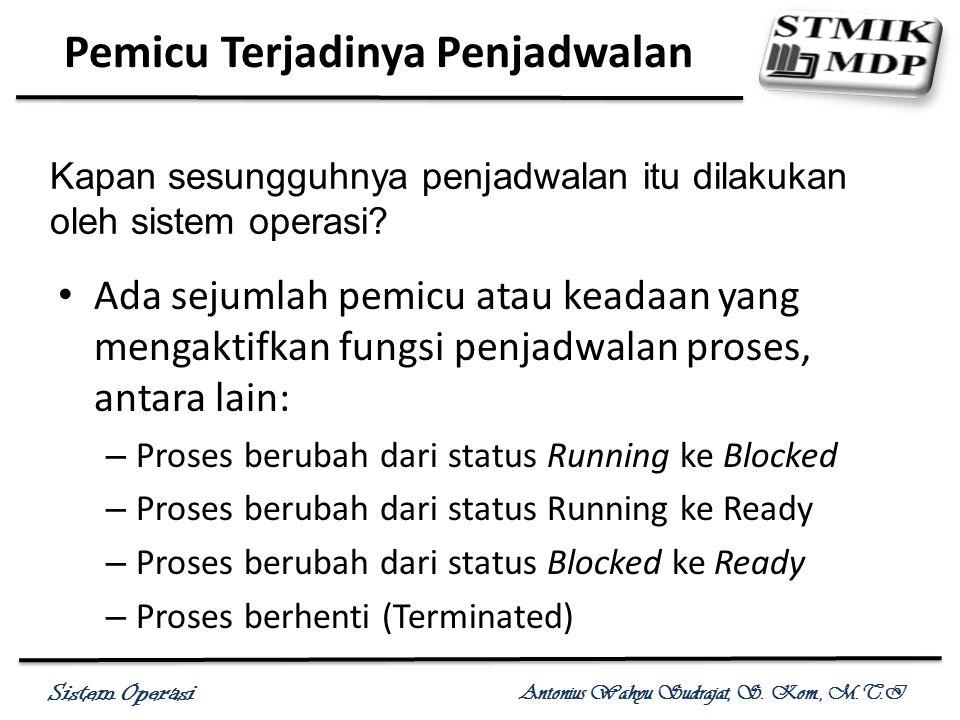Sistem Operasi Antonius Wahyu Sudrajat, S. Kom., M.T.I Ada sejumlah pemicu atau keadaan yang mengaktifkan fungsi penjadwalan proses, antara lain: – Pr