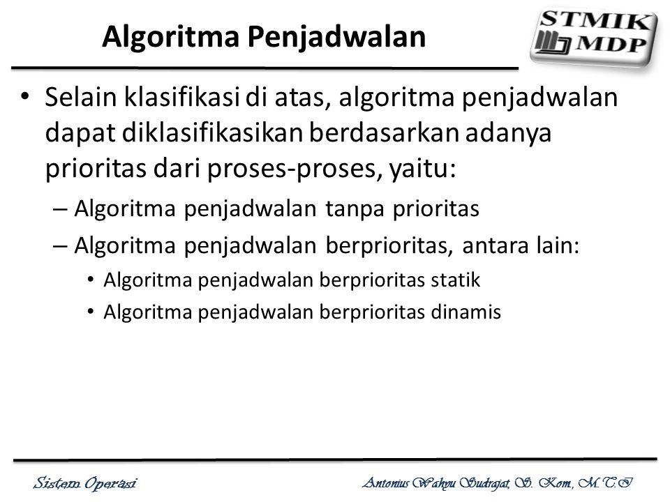 Sistem Operasi Antonius Wahyu Sudrajat, S. Kom., M.T.I Selain klasifikasi di atas, algoritma penjadwalan dapat diklasifikasikan berdasarkan adanya pri
