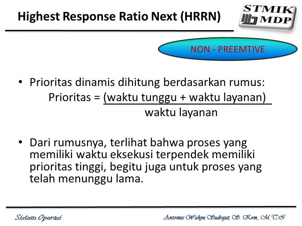 Sistem Operasi Antonius Wahyu Sudrajat, S. Kom., M.T.I Prioritas dinamis dihitung berdasarkan rumus: Prioritas = (waktu tunggu + waktu layanan) waktu