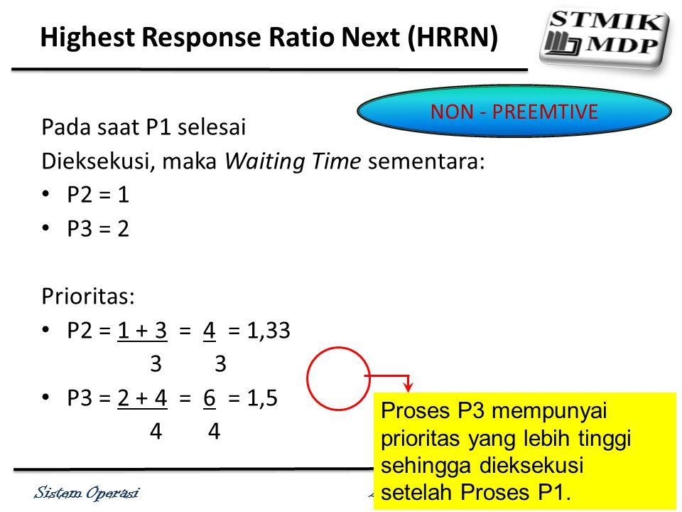 Sistem Operasi Antonius Wahyu Sudrajat, S. Kom., M.T.I Pada saat P1 selesai Dieksekusi, maka Waiting Time sementara: P2 = 1 P3 = 2 Prioritas: P2 = 1 +