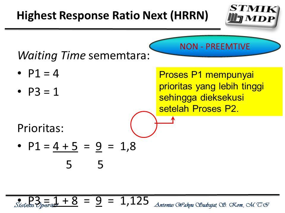 Sistem Operasi Antonius Wahyu Sudrajat, S. Kom., M.T.I Waiting Time sememtara: P1 = 4 P3 = 1 Prioritas: P1 = 4 + 5 = 9 = 1,8 5 P3 = 1 + 8 = 9 = 1,125