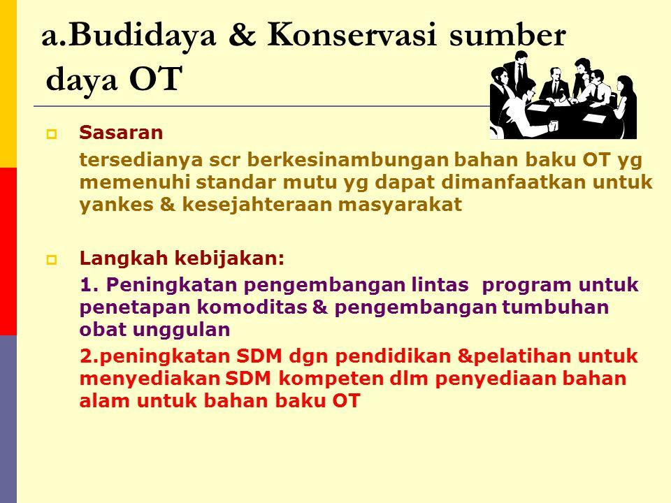 Pokok –pokok dan langkah-langkah kebijakan a.Budidaya & Konservasi sumber daya obat tradisional b.