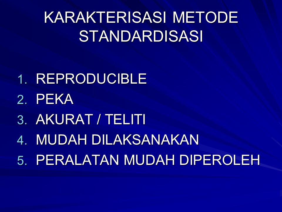 KARAKTERISASI METODE STANDARDISASI 1.REPRODUCIBLE 2.